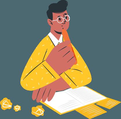 Illustration d'un écrivain pour les prestations en rédaction, relecture et réécriture de Liz à la Ligne